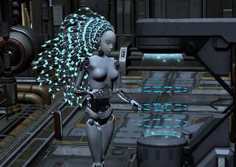 cyber robot in sci-fi interior