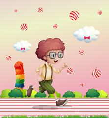 A curly boy running