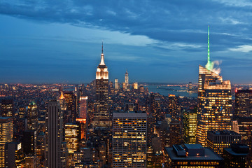 Manhattan view from Rockefeller Center at dusk, New York, USA