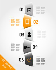 orange infographic wave with icons