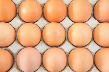 Eggs in an egg carton.