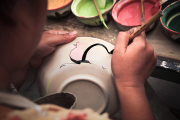porcelain bowls, painted chicken