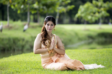 Thai woman wearing typical Thai dress