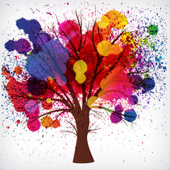 abstract background, tree with branches made of watercolor drops