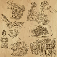 Food around the World (part 1). Collection of hand drawings.