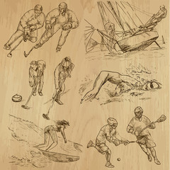 Sport around the World (part 2). Collection of hand drawings.