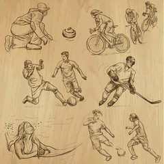 Sport around the World (part 1). Collection of hand drawings.