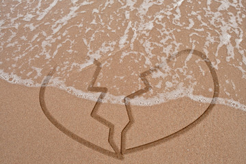 Broken heart on sand and wave
