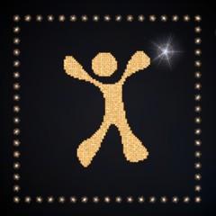 3d graphic of a magic happy character symbol glittering golden