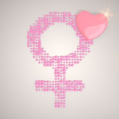3d graphic of a tender woman symbol made of many hearts