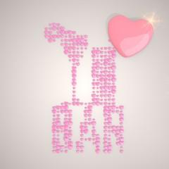 Illustration of a tender bar symbol made of many hearts