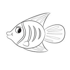 Cartoon fish. Coloring book. Vector illustration