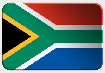 South Africa 3D realistic flag on white background