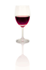 Red Wine Glass on White .
