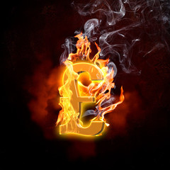 Poster Vlam Pound symbol in fire flames