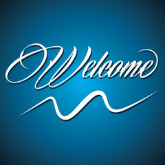 Creative calligraphy of text welcome- vector illustration
