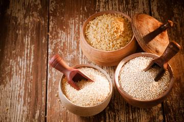 Bulgur, quinoa and couscous