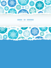 vector round snowflakes vertical torn frame seamless pattern