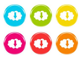 Iconos de colores con símbolo de descargar ficheros a la nube