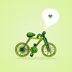 Sketch style green bicycle