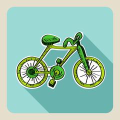Hand drawn green bike.