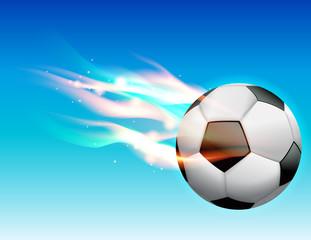 Flaming Soccer Ball in Sky