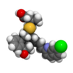 Montelukast asthma and airway allergy drug, chemical structure.