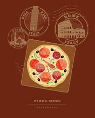 Pizza Menu design, vector illustration