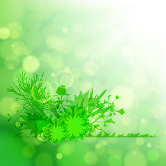 Floral green background.