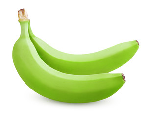 Two green bananas isolated on white with clipping path