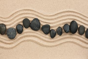 Photo sur Plexiglas Zen pierres a sable Black stones on the sand