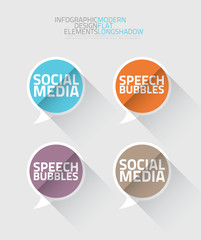 Social media speech bubbles long shadow vector