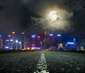 Poster Full moon Highway heading to the city