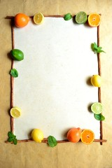 Citrus fruits with mint leaves.frame