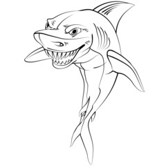 Cartoon shark . Drawing style black on white.