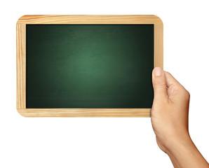 Hand holding Blackboard on white background