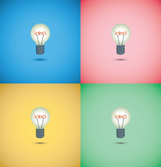 Light bulb idea on colorful background