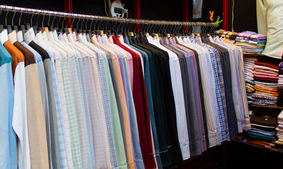 row of colorful  shirts