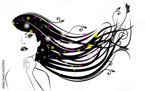 Силуэт девушки с волосами картинки