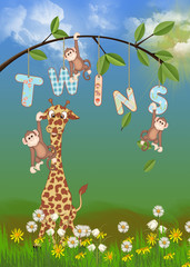 giraffe and monkeys for twins