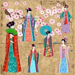 Printed roller blinds Floral woman Oriental girl in retro costume