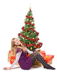 happy teenage girl with gift.