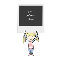 Girl holding photo. Isolated vector background design.