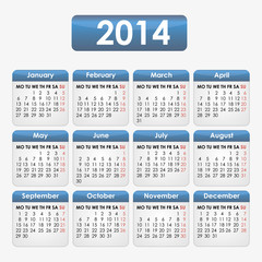 Calendar 2014 with blue inserts