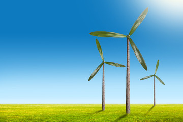Fototapete - Green energy concept - natural wind generator turbines on summer