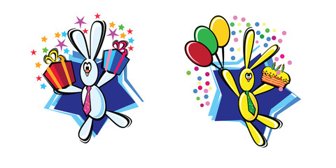 2 colorful rabbits with presents and colorful ballons