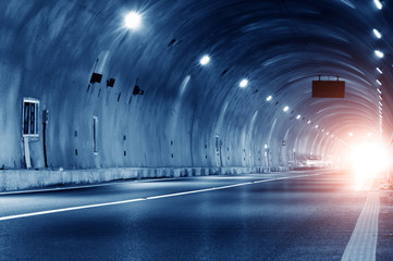 Fotorolgordijn Tunnel Abstract car in the tunnel trajectory