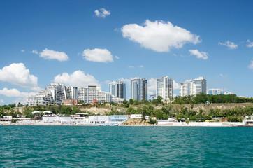 Odessa city seashore with new urban districts, Ukraine
