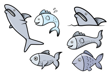 Fish Set - Vector Cartoon Illustration