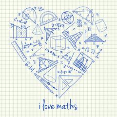 Maths drawings in heart shape